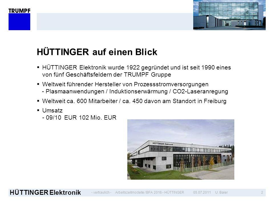 - vertraulich - HÜTTINGER Elektronik 205.07.2011 U. BaierArbeitszeitmodelle / BFA 2016 - HÜTTINGER HÜTTINGER auf einen Blick HÜTTINGER Elektronik wurd