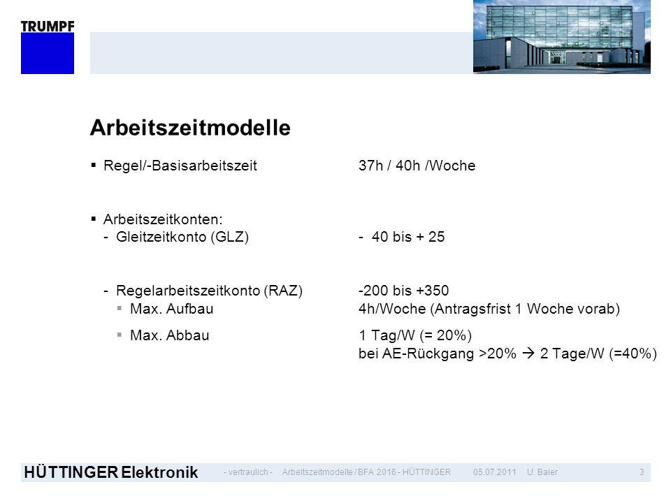 - vertraulich - HÜTTINGER Elektronik 305.07.2011 U. BaierArbeitszeitmodelle / BFA 2016 - HÜTTINGER Arbeitszeitmodelle Regel/-Basisarbeitszeit37h / 40h