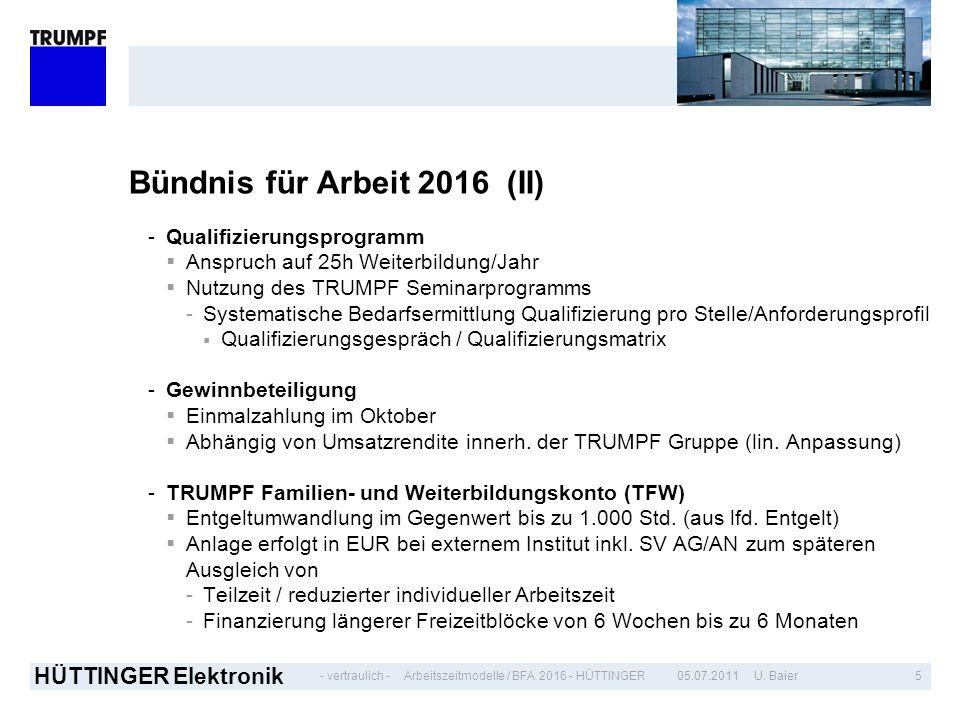 - vertraulich - HÜTTINGER Elektronik 505.07.2011 U. BaierArbeitszeitmodelle / BFA 2016 - HÜTTINGER Bündnis für Arbeit 2016 (II) -Qualifizierungsprogra