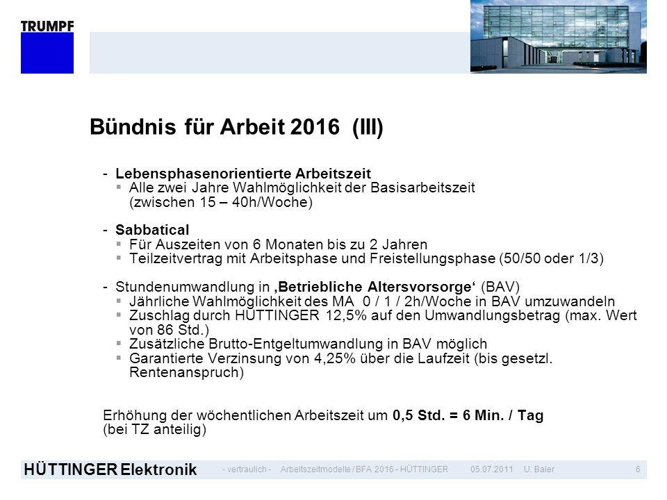 - vertraulich - HÜTTINGER Elektronik 605.07.2011 U. BaierArbeitszeitmodelle / BFA 2016 - HÜTTINGER Bündnis für Arbeit 2016 (III) -Lebensphasenorientie