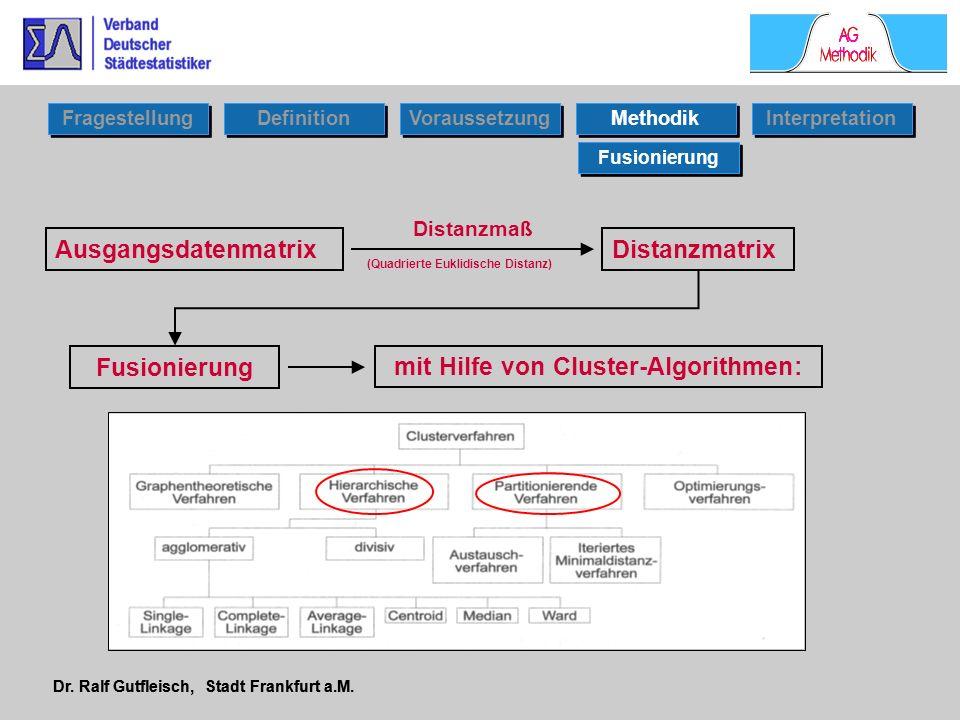 Dr. Ralf Gutfleisch, Stadt Frankfurt a.M. Fusionierung Ausgangsdatenmatrix Distanzmaß Distanzmatrix (Quadrierte Euklidische Distanz) mit Hilfe von Clu