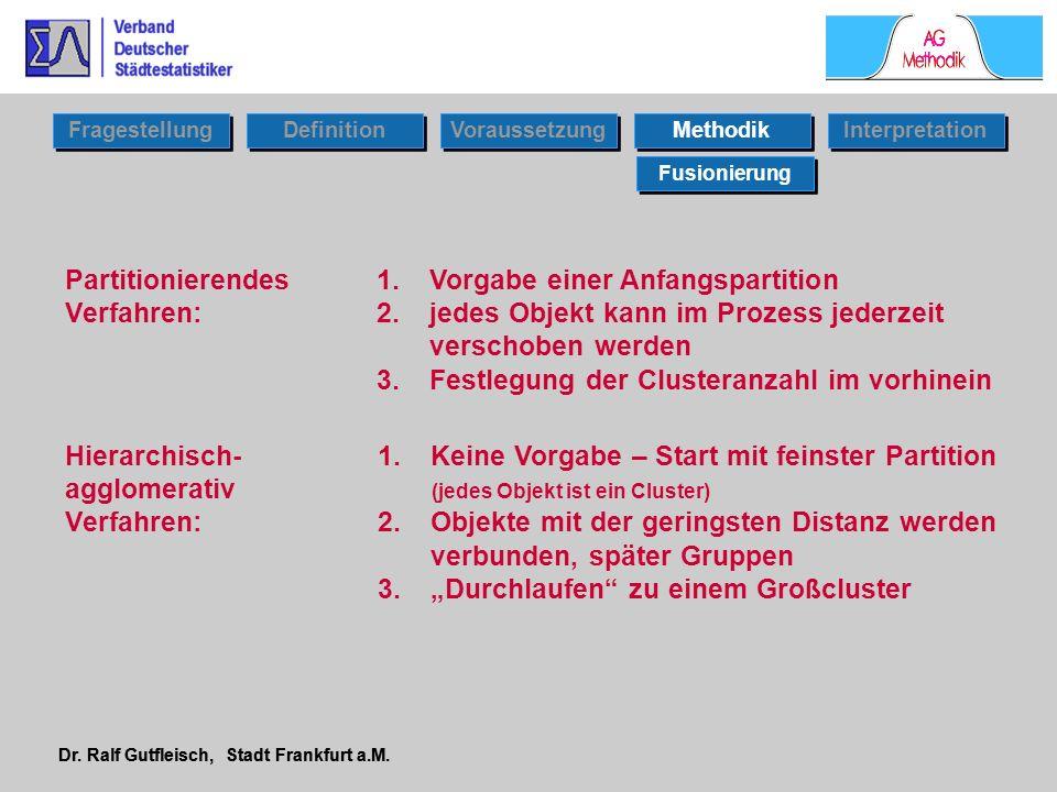 Dr. Ralf Gutfleisch, Stadt Frankfurt a.M. Partitionierendes Verfahren: 1.Vorgabe einer Anfangspartition 2.jedes Objekt kann im Prozess jederzeit versc