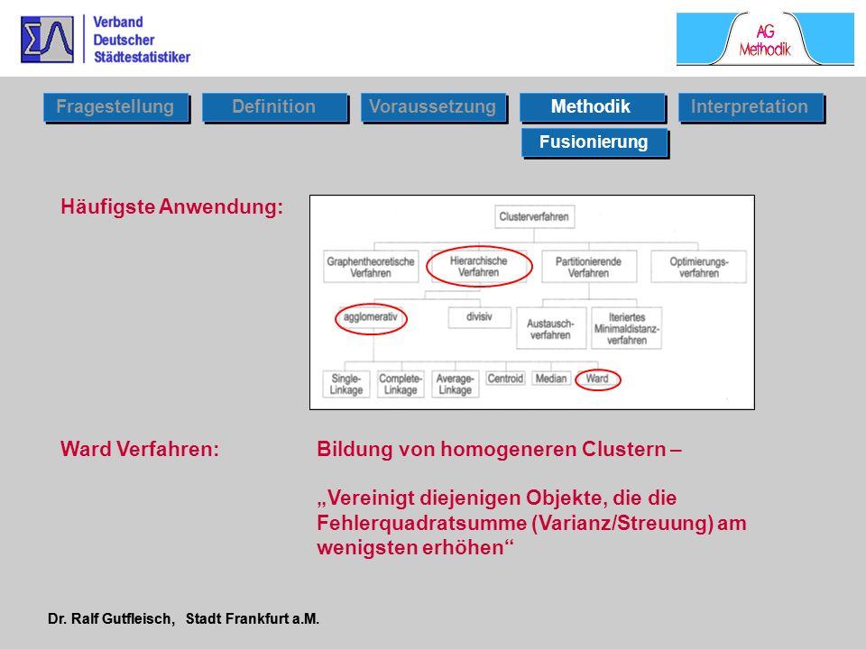 Dr. Ralf Gutfleisch, Stadt Frankfurt a.M. Häufigste Anwendung: Ward Verfahren: Bildung von homogeneren Clustern – Vereinigt diejenigen Objekte, die di