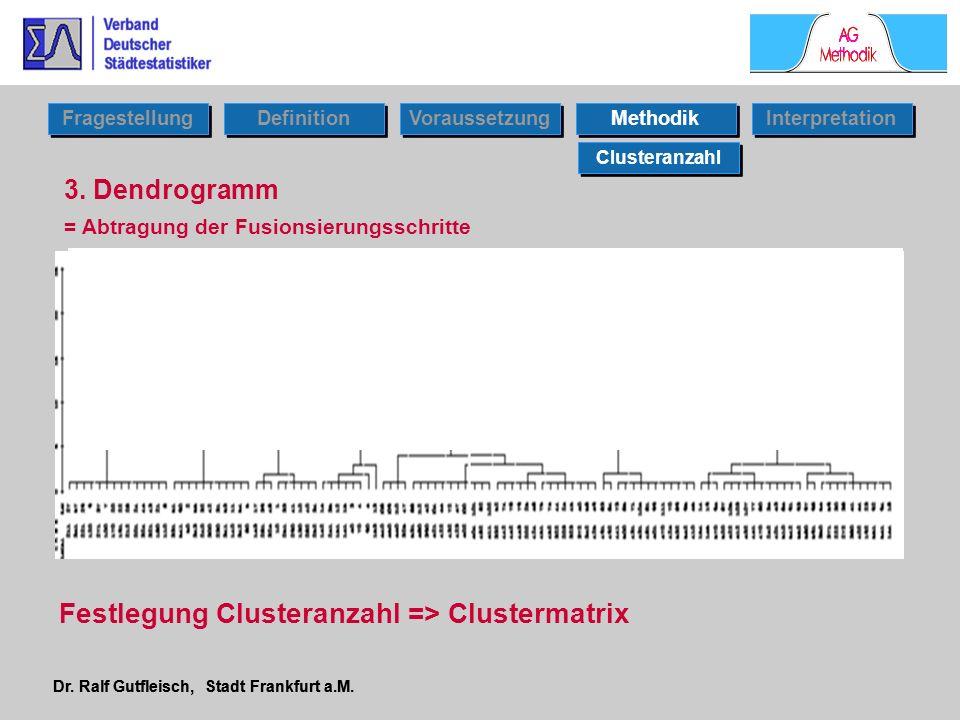 Dr. Ralf Gutfleisch, Stadt Frankfurt a.M. 3. Dendrogramm Clusteranzahl Fragestellung Definition Voraussetzung Interpretation Methodik = Abtragung der