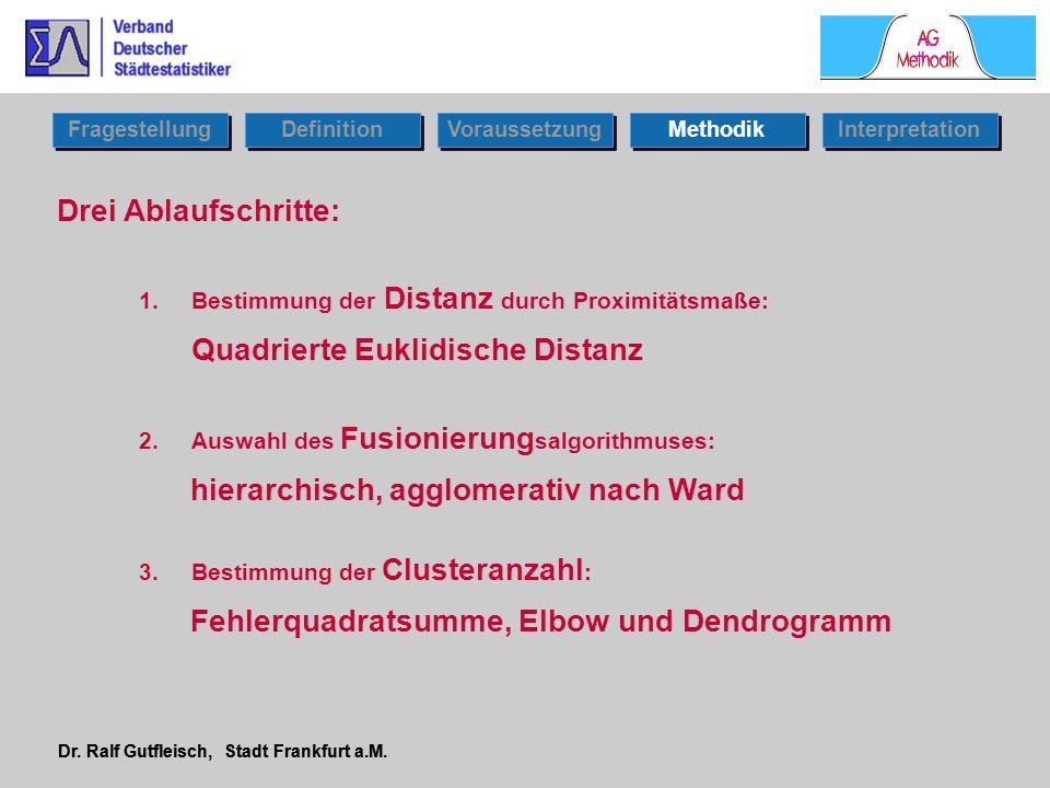 Dr. Ralf Gutfleisch, Stadt Frankfurt a.M. Drei Ablaufschritte: 1.Bestimmung der Distanz durch Proximitätsmaße: Quadrierte Euklidische Distanz 2.Auswah