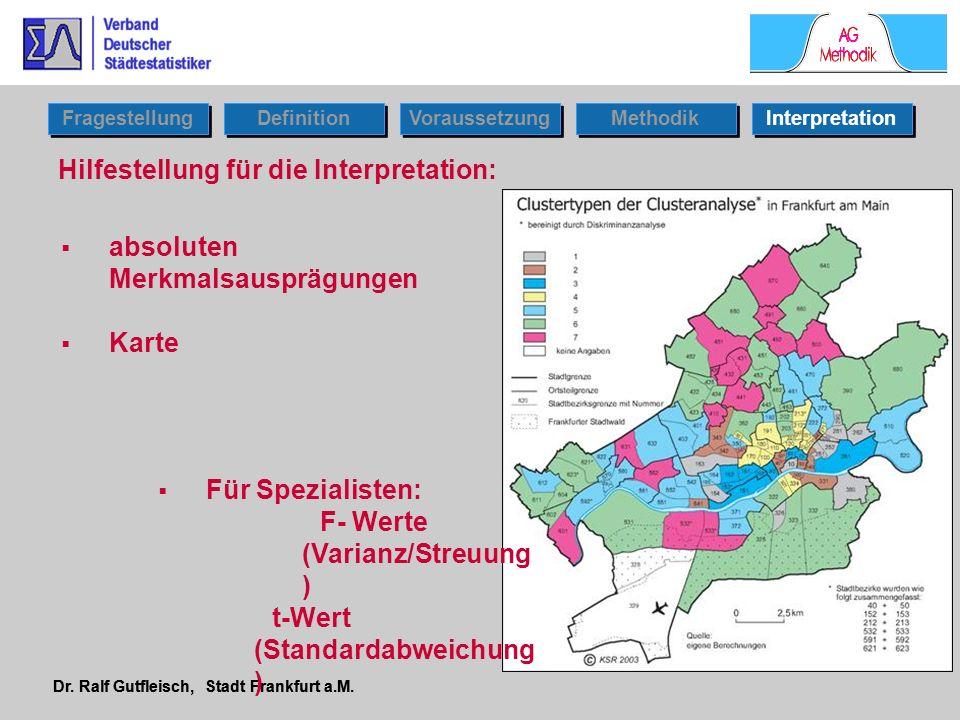 Dr. Ralf Gutfleisch, Stadt Frankfurt a.M. Fragestellung Definition Voraussetzung Interpretation Methodik Hilfestellung für die Interpretation: absolut