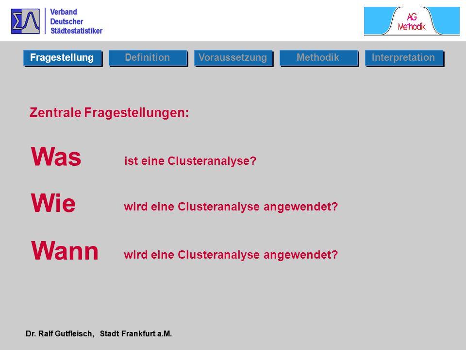 Fragestellung Dr. Ralf Gutfleisch, Stadt Frankfurt a.M. Zentrale Fragestellungen: Was Wann Wie ist eine Clusteranalyse? wird eine Clusteranalyse angew
