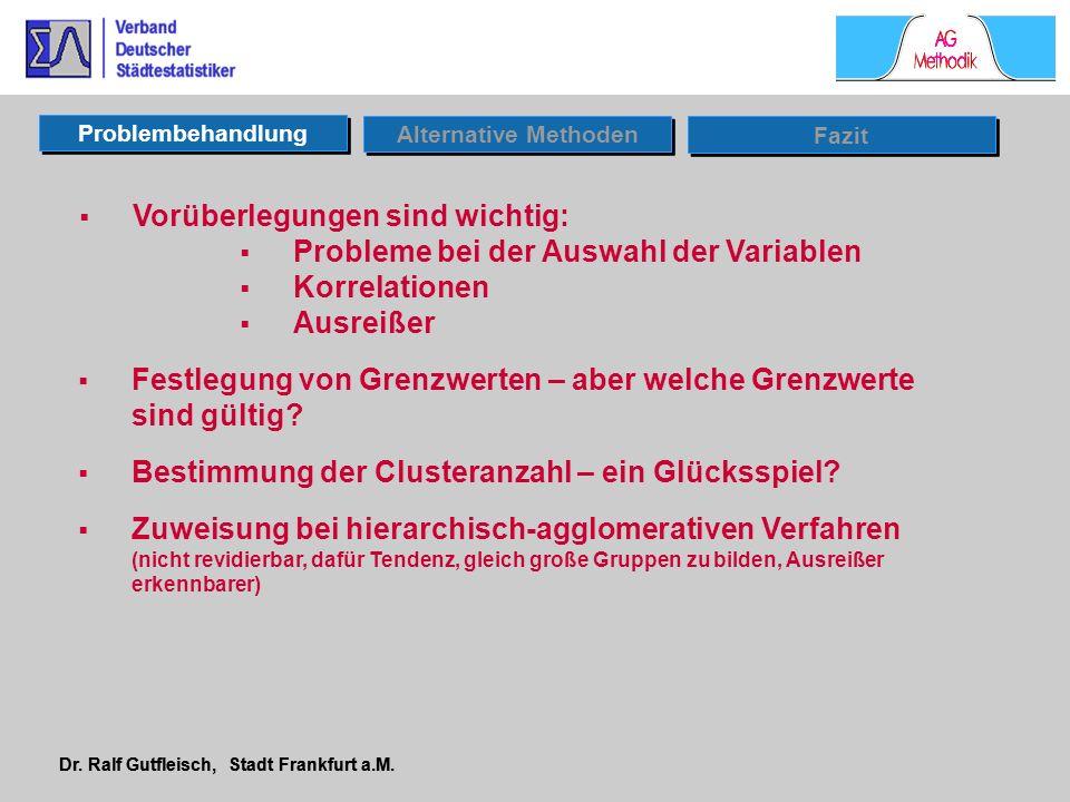Dr. Ralf Gutfleisch, Stadt Frankfurt a.M. Problembehandlung Alternative Methoden Vorüberlegungen sind wichtig: Probleme bei der Auswahl der Variablen