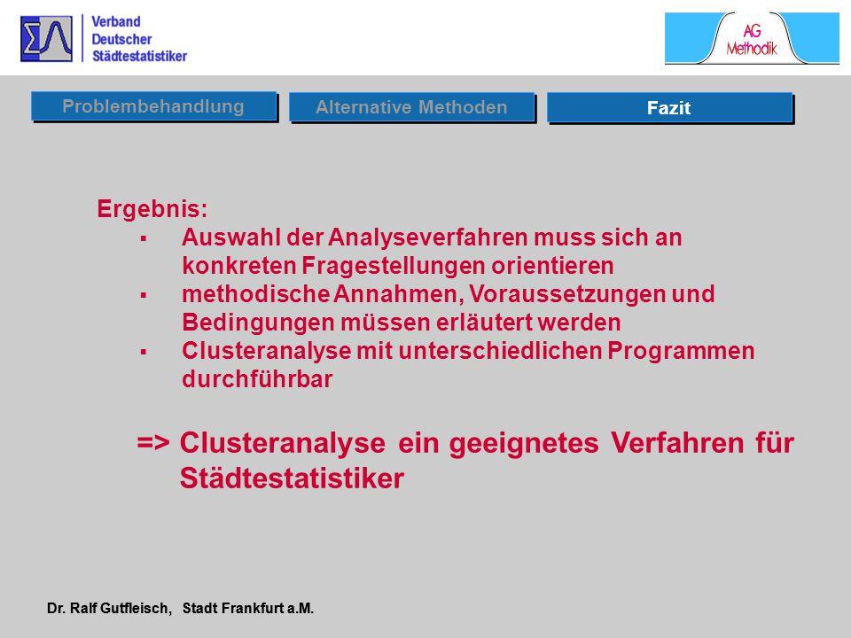 Dr. Ralf Gutfleisch, Stadt Frankfurt a.M. Ergebnis: Auswahl der Analyseverfahren muss sich an konkreten Fragestellungen orientieren methodische Annahm