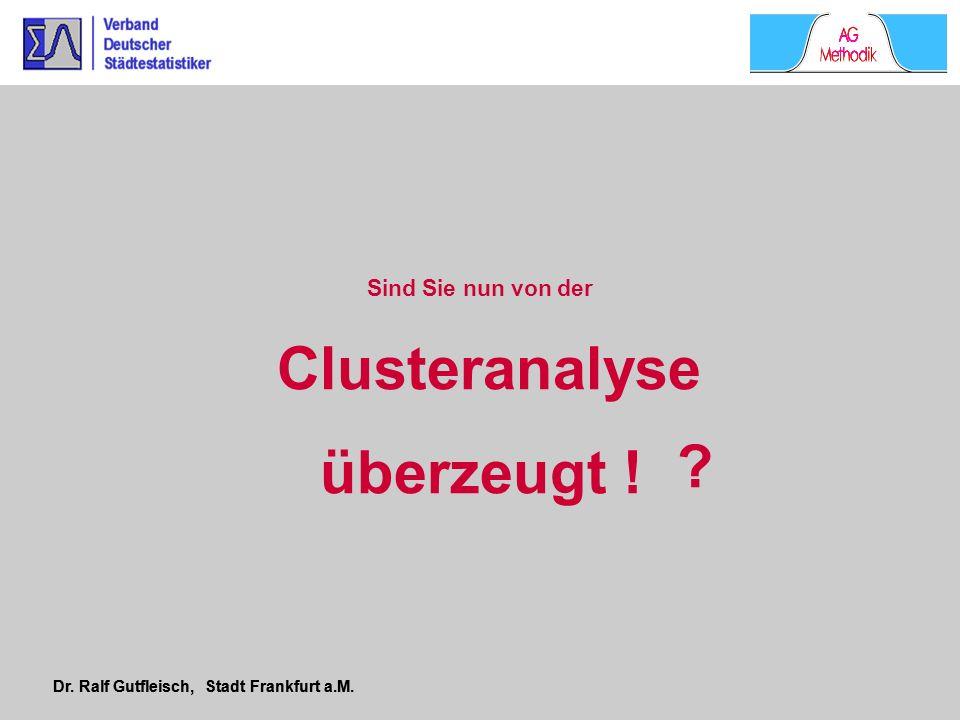 Dr. Ralf Gutfleisch, Stadt Frankfurt a.M. Clusteranalyse überzeugt ! Sind Sie nun von der ?