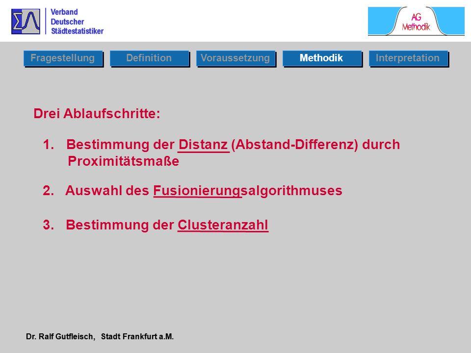 Dr. Ralf Gutfleisch, Stadt Frankfurt a.M. Drei Ablaufschritte: 1.Bestimmung der Distanz (Abstand-Differenz) durch Proximitätsmaße 2. Auswahl des Fusio