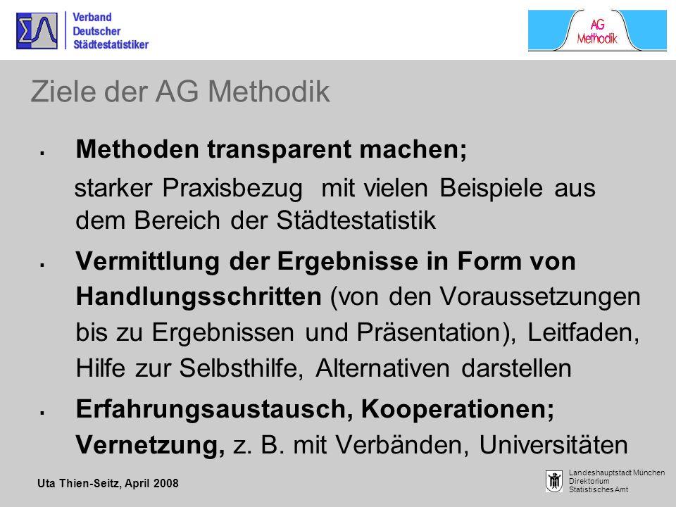 Uta Thien-Seitz, April 2008 Landeshauptstadt München Direktorium Statistisches Amt Ziele der AG Methodik Methoden transparent machen; starker Praxisbe