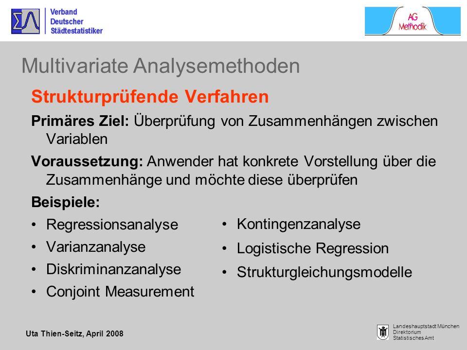 Uta Thien-Seitz, April 2008 Landeshauptstadt München Direktorium Statistisches Amt Multivariate Analysemethoden Strukturprüfende Verfahren Primäres Zi