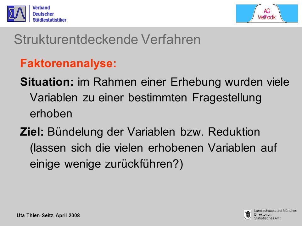 Uta Thien-Seitz, April 2008 Landeshauptstadt München Direktorium Statistisches Amt Strukturentdeckende Verfahren Faktorenanalyse: Situation: im Rahmen