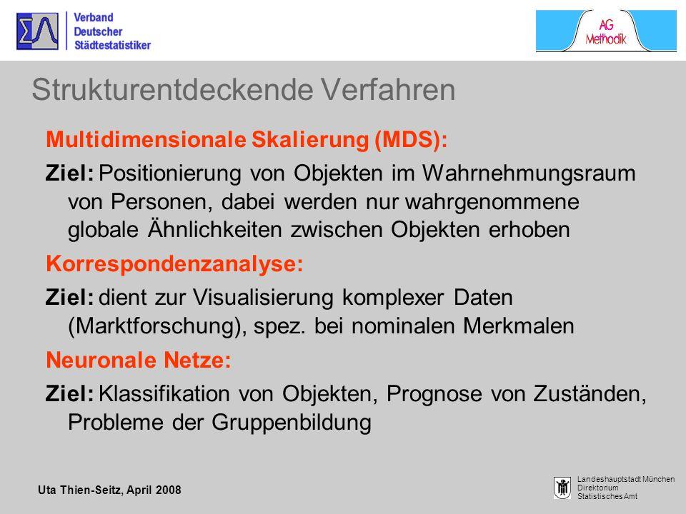 Uta Thien-Seitz, April 2008 Landeshauptstadt München Direktorium Statistisches Amt Strukturentdeckende Verfahren Multidimensionale Skalierung (MDS): Z