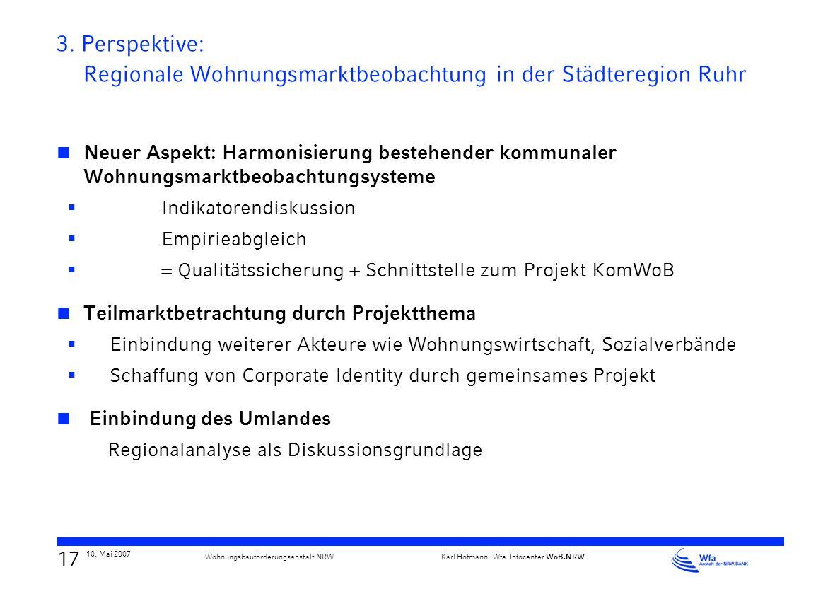 16 10. Mai 2007 Karl Hofmann- Wfa-Infocenter WoB.NRW Wohnungsbauförderungsanstalt NRW Bottrop Werne Unna Selm Schwerte Lünen Kamen Holzwickede Bönen B