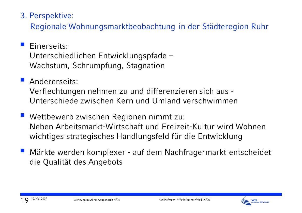 18 10. Mai 2007 Karl Hofmann- Wfa-Infocenter WoB.NRW Wohnungsbauförderungsanstalt NRW Regionale Kooperation erfordert fachlich-strategische Kompetenz
