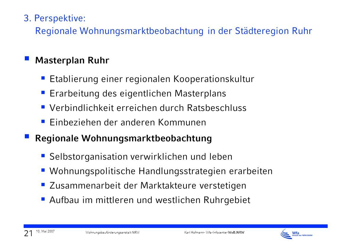 20 10. Mai 2007 Karl Hofmann- Wfa-Infocenter WoB.NRW Wohnungsbauförderungsanstalt NRW 3. Perspektive: Regionale Wohnungsmarktbeobachtung in der Städte