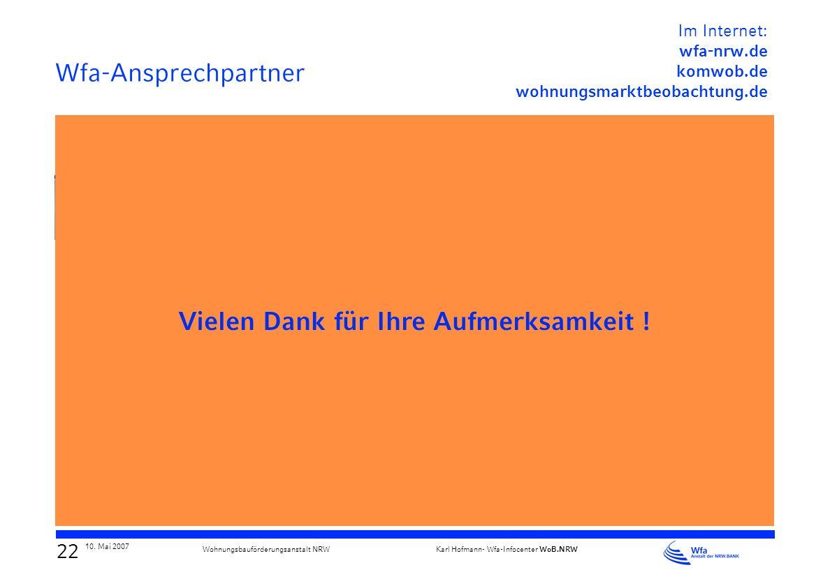 21 10. Mai 2007 Karl Hofmann- Wfa-Infocenter WoB.NRW Wohnungsbauförderungsanstalt NRW Masterplan Ruhr Etablierung einer regionalen Kooperationskultur
