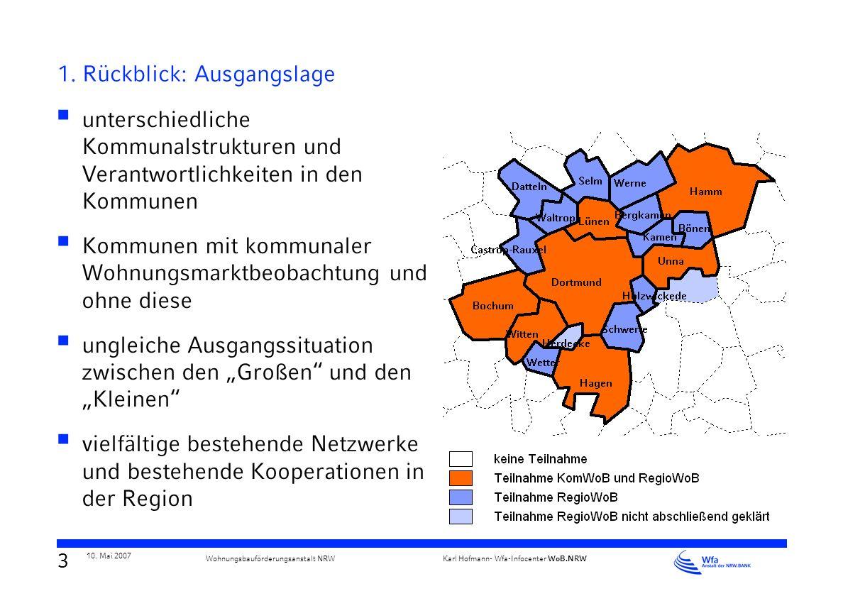 2 10. Mai 2007 Karl Hofmann- Wfa-Infocenter WoB.NRW Wohnungsbauförderungsanstalt NRW Regionale Wohnungsmarktbeobachtung - Inhalt 1. Rückblick Modellve