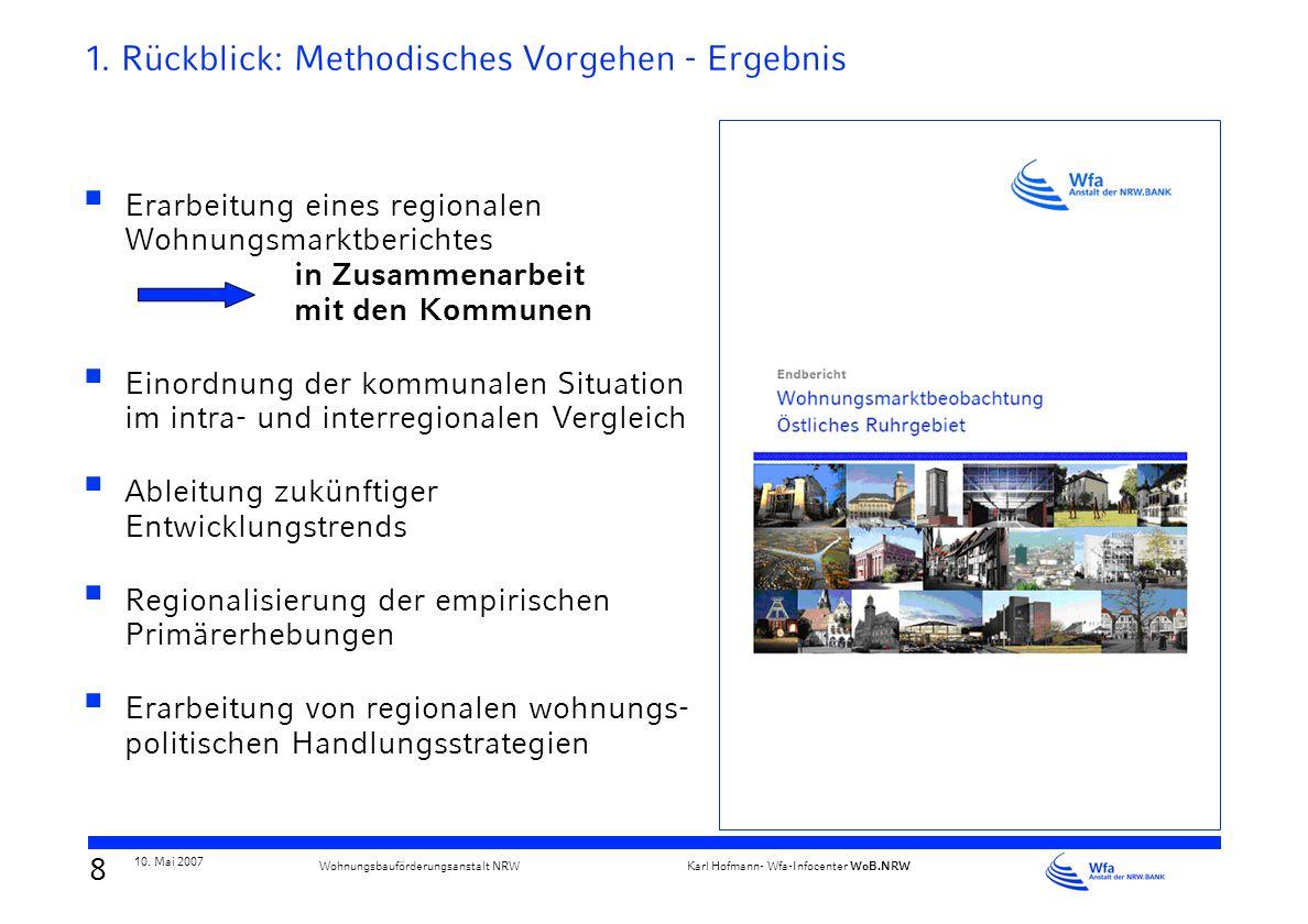 7 10. Mai 2007 Karl Hofmann- Wfa-Infocenter WoB.NRW Wohnungsbauförderungsanstalt NRW 1. Rückblick: Was ist Regionale Wohnungsmarktbeobachtung??? Disku