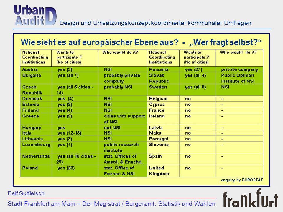 ___________________________________________________________ Stadt Frankfurt am Main – Der Magistrat / Bürgeramt, Statistik und Wahlen Ralf Gutfleisch Design und Umsetzungskonzept koordinierter kommunaler Umfragen Wie sieht es auf europäischer Ebene aus.