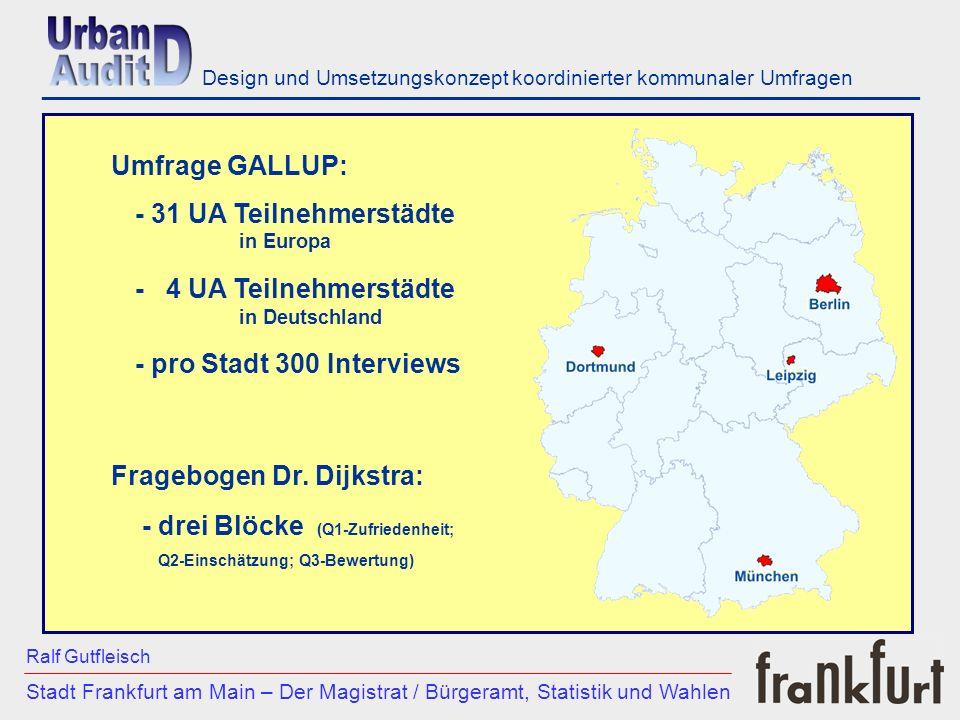 ___________________________________________________________ - 31 UA Teilnehmerstädte in Europa - 4 UA Teilnehmerstädte in Deutschland - pro Stadt 300