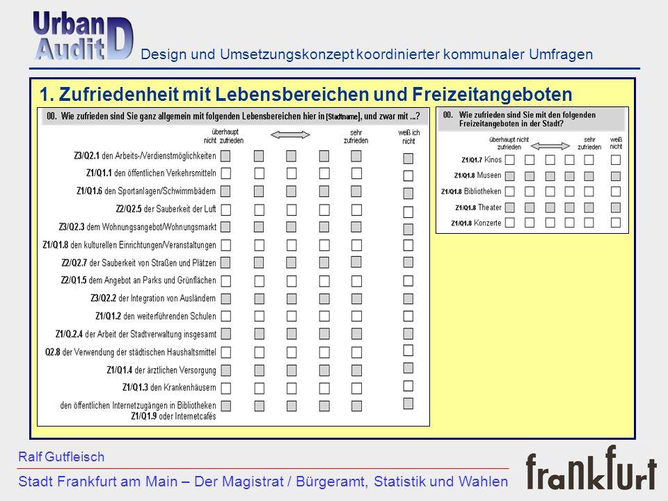 ___________________________________________________________ Stadt Frankfurt am Main – Der Magistrat / Bürgeramt, Statistik und Wahlen Ralf Gutfleisch Design und Umsetzungskonzept koordinierter kommunaler Umfragen 2.