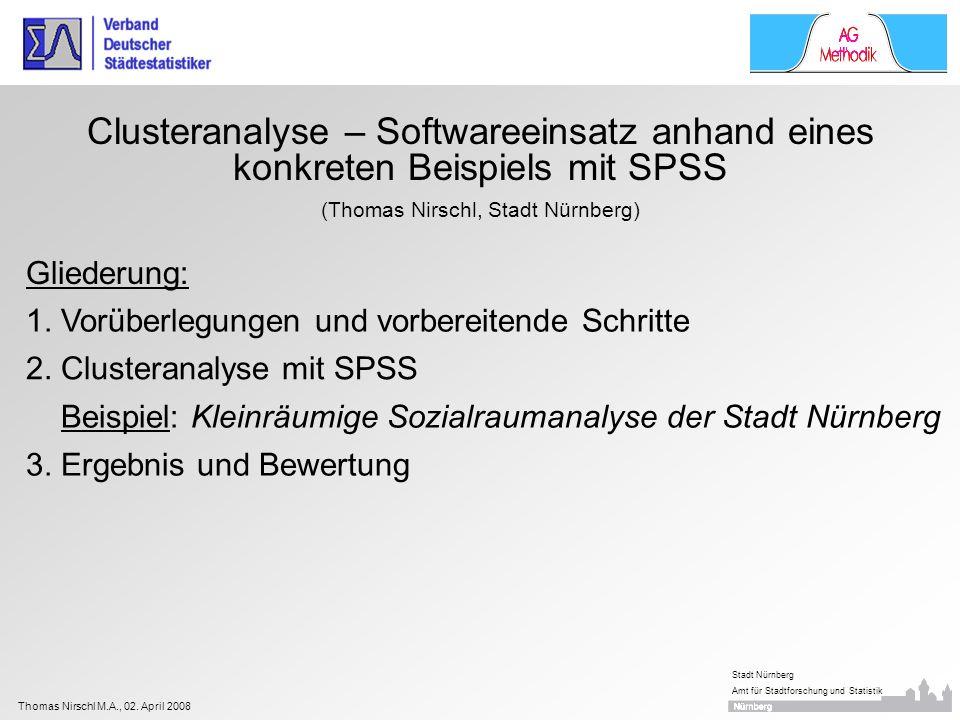 Thomas Nirschl M.A., 02. April 2008 Stadt Nürnberg Amt für Stadtforschung und Statistik Clusteranalyse – Softwareeinsatz anhand eines konkreten Beispi