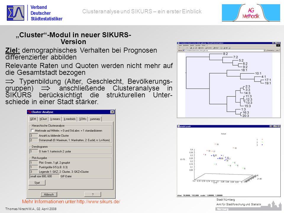 Thomas Nirschl M.A., 02. April 2008 Stadt Nürnberg Amt für Stadtforschung und Statistik Clusteranalyse und SIKURS – ein erster Einblick Cluster-Modul