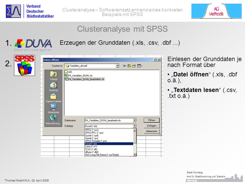 Thomas Nirschl M.A., 02. April 2008 Stadt Nürnberg Amt für Stadtforschung und Statistik Clusteranalyse – Softwareinsatz anhand eines konkreten Beispie