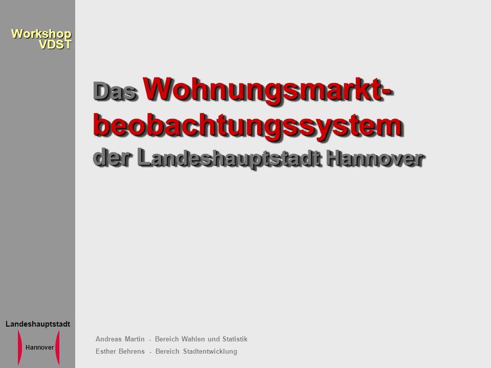 Landeshauptstadt Hannover WorkshopVDST Das Wohnungsmarkt- beobachtungssystem der L andeshauptstadt Hannover Andreas Martin - Bereich Wahlen und Statis