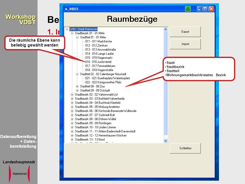 Landeshauptstadt Hannover WorkshopVDST Bereitstellung der Information 1. Inbes Stadt Stadtbezirk Stadtteil Wohnungsmarktbezirk/statist. Bezirk Die räu