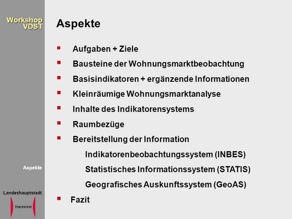 Landeshauptstadt Hannover WorkshopVDST Aspekte Aspekte Aufgaben + Ziele Bausteine der Wohnungsmarktbeobachtung Basisindikatoren + ergänzende Informati