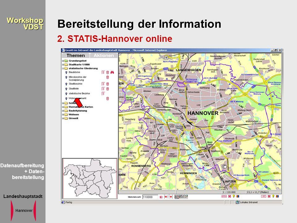 Landeshauptstadt Hannover WorkshopVDST Bereitstellung der Information 2. STATIS-Hannover online Datenaufbereitung + Daten- bereitstellung
