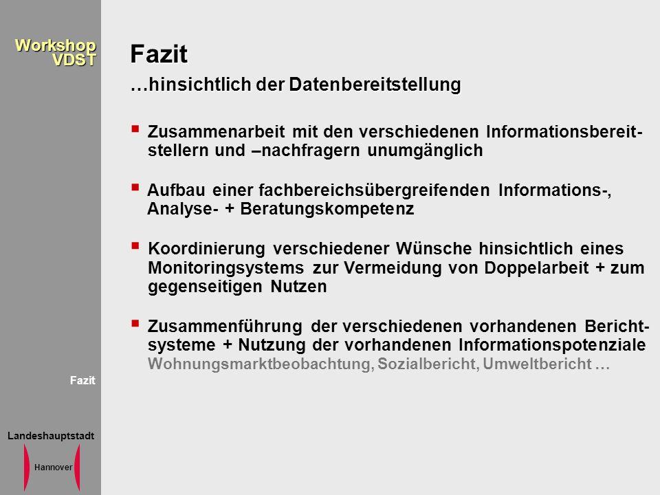 Landeshauptstadt Hannover WorkshopVDST Fazit …hinsichtlich der Datenbereitstellung Zusammenarbeit mit den verschiedenen Informationsbereit- stellern u