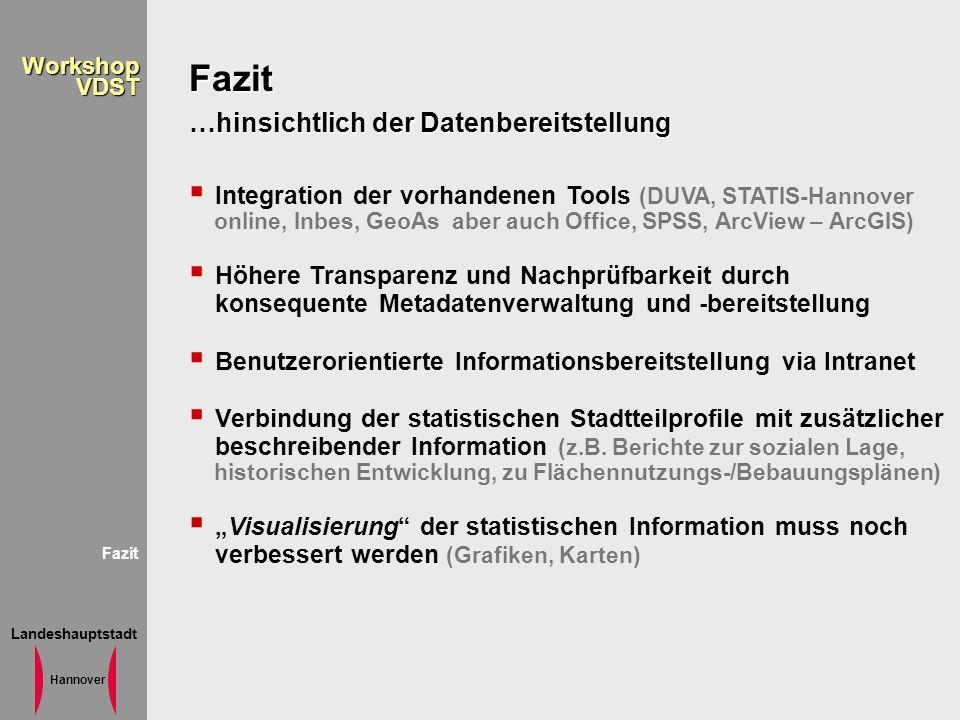 Landeshauptstadt Hannover WorkshopVDST Fazit …hinsichtlich der Datenbereitstellung Integration der vorhandenen Tools (DUVA, STATIS-Hannover online, In