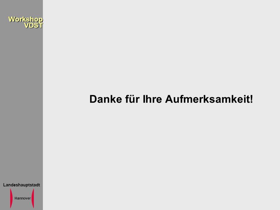 Landeshauptstadt Hannover WorkshopVDST Danke für Ihre Aufmerksamkeit!