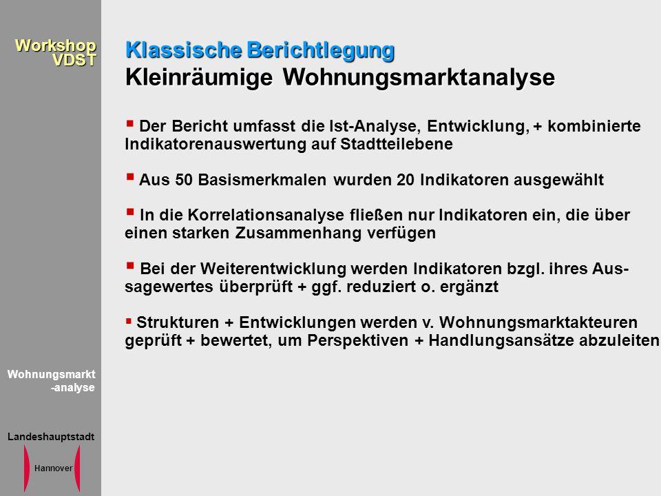 Landeshauptstadt Hannover WorkshopVDST Wohnungsmarkt -analyse Klassische Berichtlegung Kleinräumige Wohnungsmarktanalyse Der Bericht umfasst die Ist-A