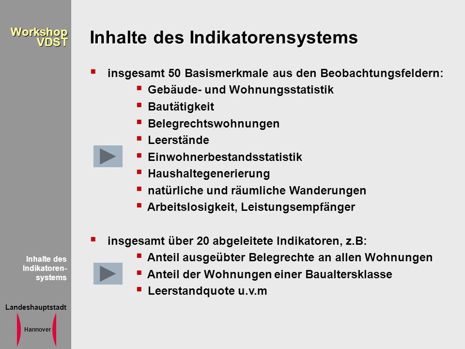 Landeshauptstadt Hannover WorkshopVDST Inhalte des Indikatoren- systems Inhalte des Indikatorensystems insgesamt 50 Basismerkmale aus den Beobachtungs