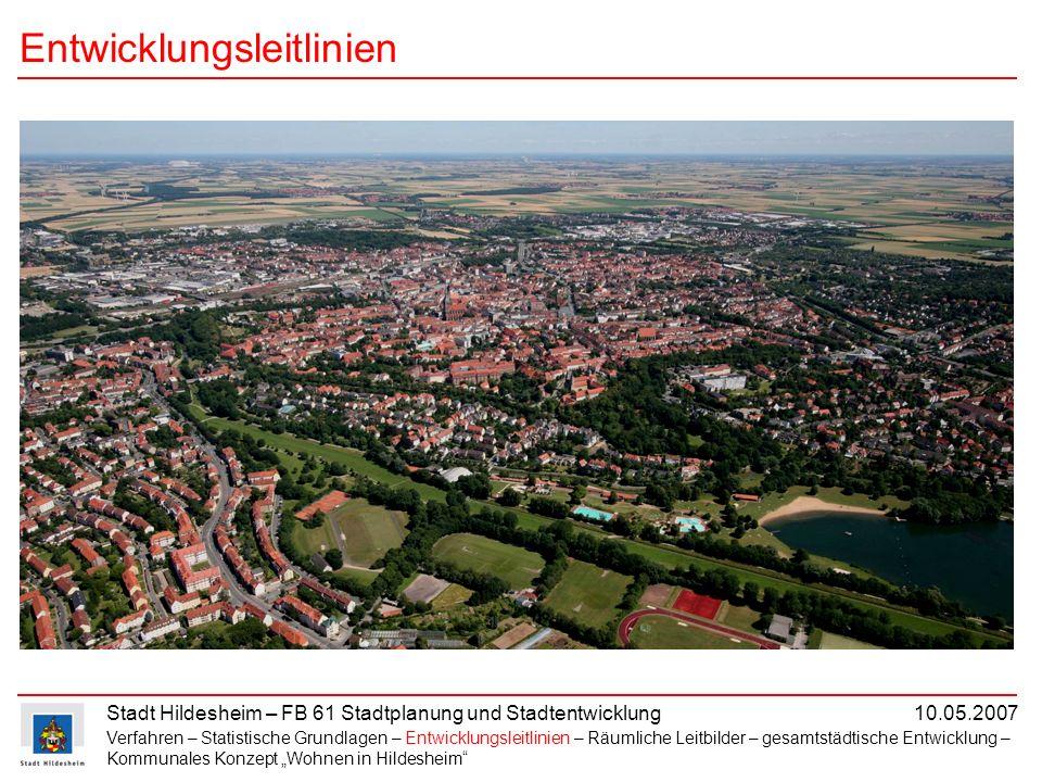 Stadt Hildesheim – FB 61 Stadtplanung und Stadtentwicklung 10.05.2007 Entwicklungsleitlinien Verfahren – Statistische Grundlagen – Entwicklungsleitlin