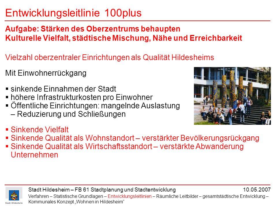 Stadt Hildesheim – FB 61 Stadtplanung und Stadtentwicklung 10.05.2007 Vielzahl oberzentraler Einrichtungen als Qualität Hildesheims Mit Einwohnerrückg