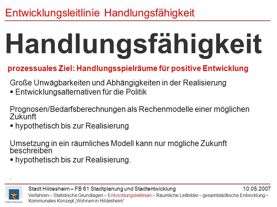 Stadt Hildesheim – FB 61 Stadtplanung und Stadtentwicklung 10.05.2007 Große Unwägbarkeiten und Abhängigkeiten in der Realisierung Entwicklungsalternat