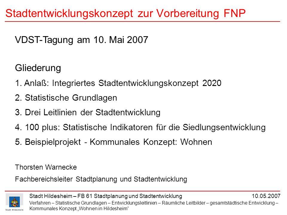 Stadt Hildesheim – FB 61 Stadtplanung und Stadtentwicklung 10.05.2007 Verfahren – Statistische Grundlagen – Entwicklungsleitlinien – Räumliche Leitbil