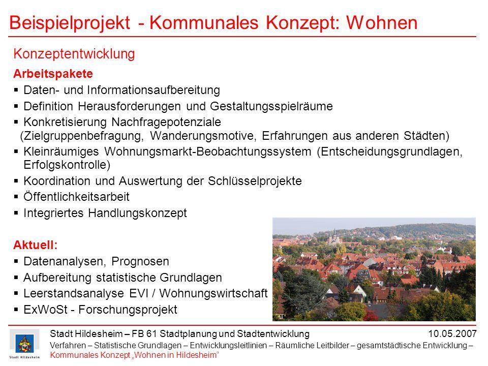 Stadt Hildesheim – FB 61 Stadtplanung und Stadtentwicklung 10.05.2007 Beispielprojekt - Kommunales Konzept: Wohnen Arbeitspakete Daten- und Informatio