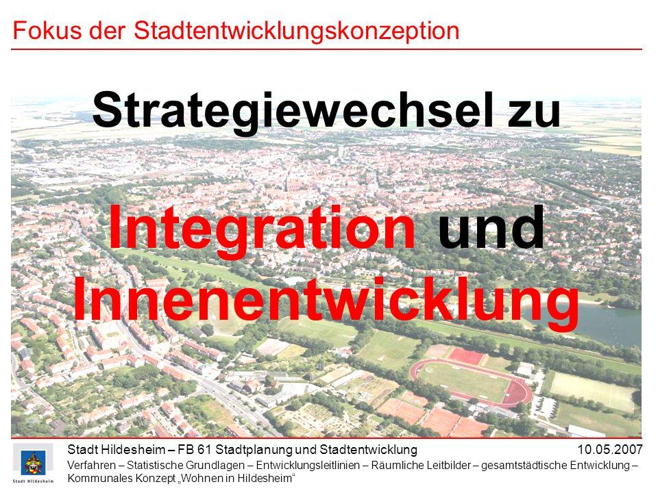 Stadt Hildesheim – FB 61 Stadtplanung und Stadtentwicklung 10.05.2007 Fokus der Stadtentwicklungskonzeption Strategiewechsel zu Integration und Innene