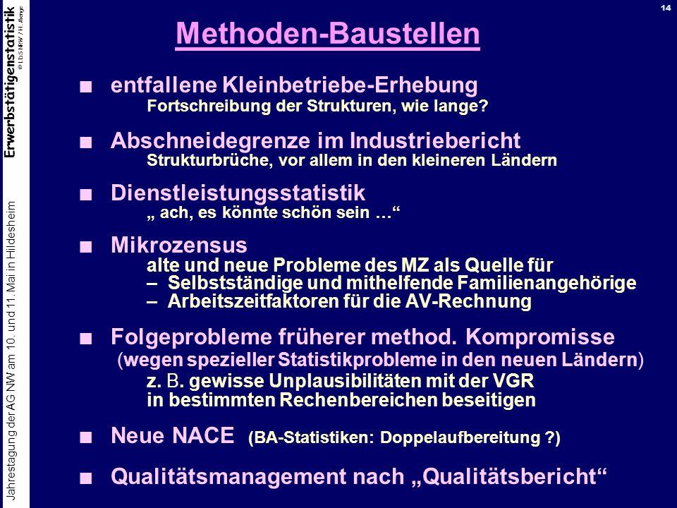 Erwerbstätigenstatistik © LDS NRW / H. Menge Jahrestagung der AG NW am 10. und 11. Mai in Hildesheim 14 Methoden-Baustellen entfallene Kleinbetriebe-E