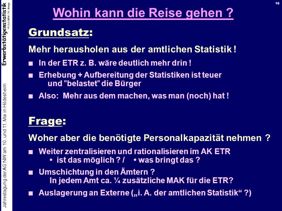 Erwerbstätigenstatistik © LDS NRW / H. Menge Jahrestagung der AG NW am 10. und 11. Mai in Hildesheim 16 Wohin kann die Reise gehen ? Frage: Woher aber