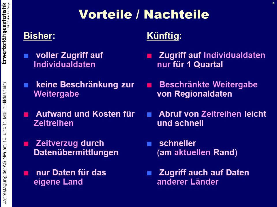 Erwerbstätigenstatistik © LDS NRW / H. Menge Jahrestagung der AG NW am 10. und 11. Mai in Hildesheim 5 Vorteile / Nachteile Bisher: voller Zugriff auf