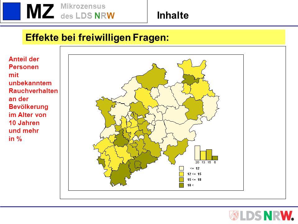 MZ Mikrozensus des LDS NRW Inhalte Effekte bei freiwilligen Fragen: Anteil der Personen mit unbekanntem Rauchverhalten an der Bevölkerung im Alter von